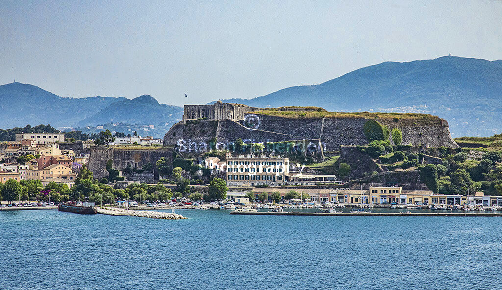 4127-Corfu New Fortress mountains buildings