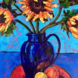 'Sunflowers with Blue Jug