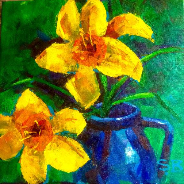Daffodils in Blue Jug