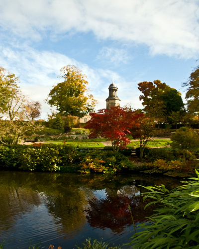 St Chads Church in Shrewsbury from the Quarry in Autumn