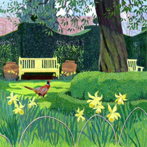 Cottage Garden with Yellow Bench