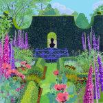 Sundial Garden with Blue Bench