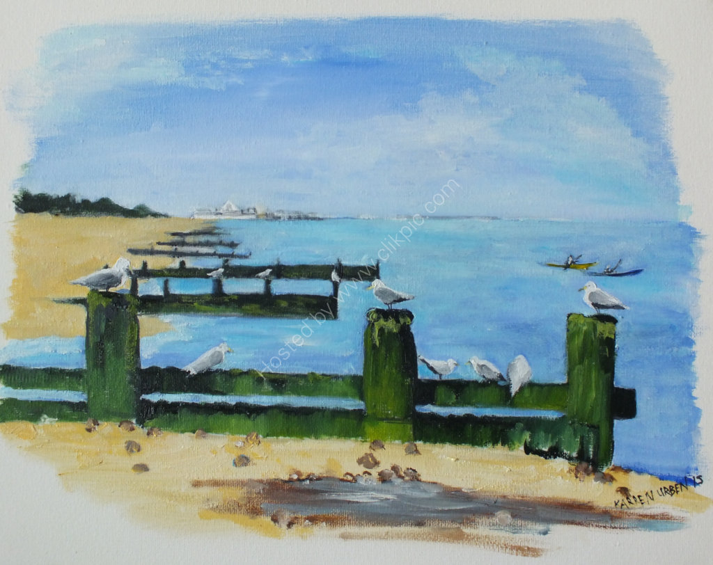 SOLD Gulls on the Groyne