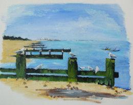SOLD Gulls on the Groyne