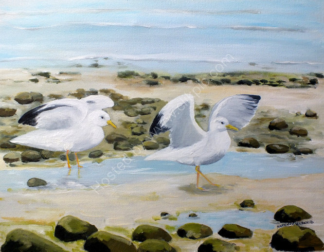 "SOLD ""Gulls on the shore, Ferring beach."""