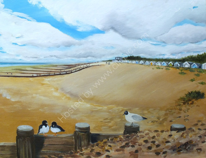 """A walk to the Bluebird, Ferring beach"" available for sale at 'Inspired by the Sea', next to Worthing Pier."