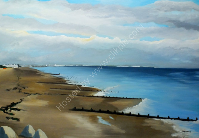 """A winters day, view along the coast to Brighton"""