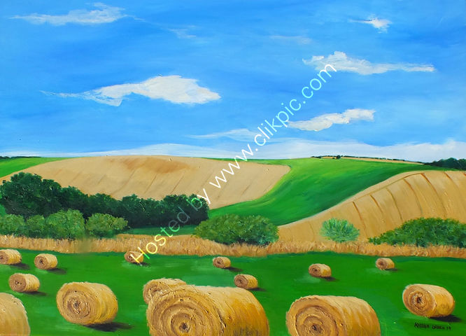 """Hay bales at Amberley, West Sussex"""