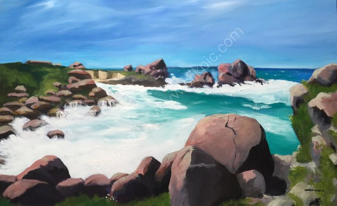 """The Pink Granite Coast, Brittany, France"" 3ft W. X 2 ft. H Oil on canvas."