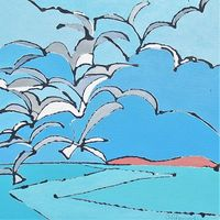 Seagulls Always Follow Fishing Boats 40x40 cm. acrylic