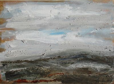 Towards the Hill 50x70x2.5cm. mixed media