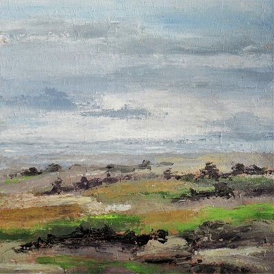 January Landscape -Resting Fields 80x80x4 cm.