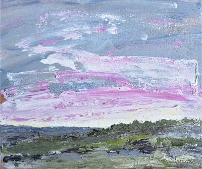Pink Sunrise 28x34x1 acrylic Mixed media