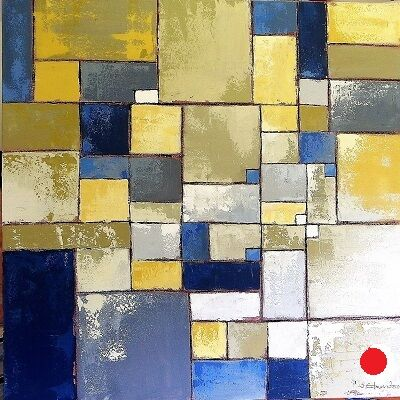 Blue in Conversation with Yellow 80x80 cm.