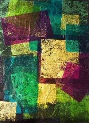 Encaustic composition Emerald 27x20