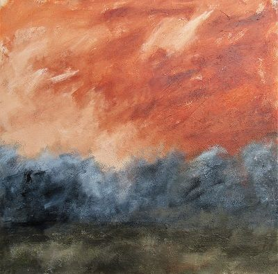 Blazing Sky 80x80cm acrylic based mixed media