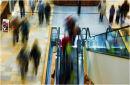 Coloured shopper blurred