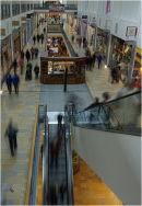 Escalator into the lower floor