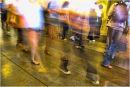 Feet forming in a queue