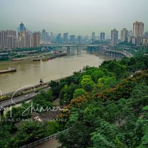 Jialing River in the city of Chongching view