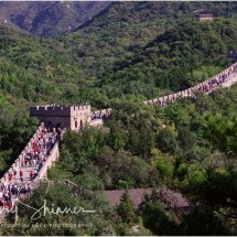 Tourists visit the Great Wall