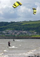 kite wind surfers - llanelli beach