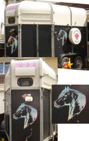 The horses heads on the horse box are cut in holographic vinyl.