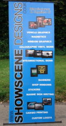 Stand up Banner prited by Showscene Designs for our trade stand.