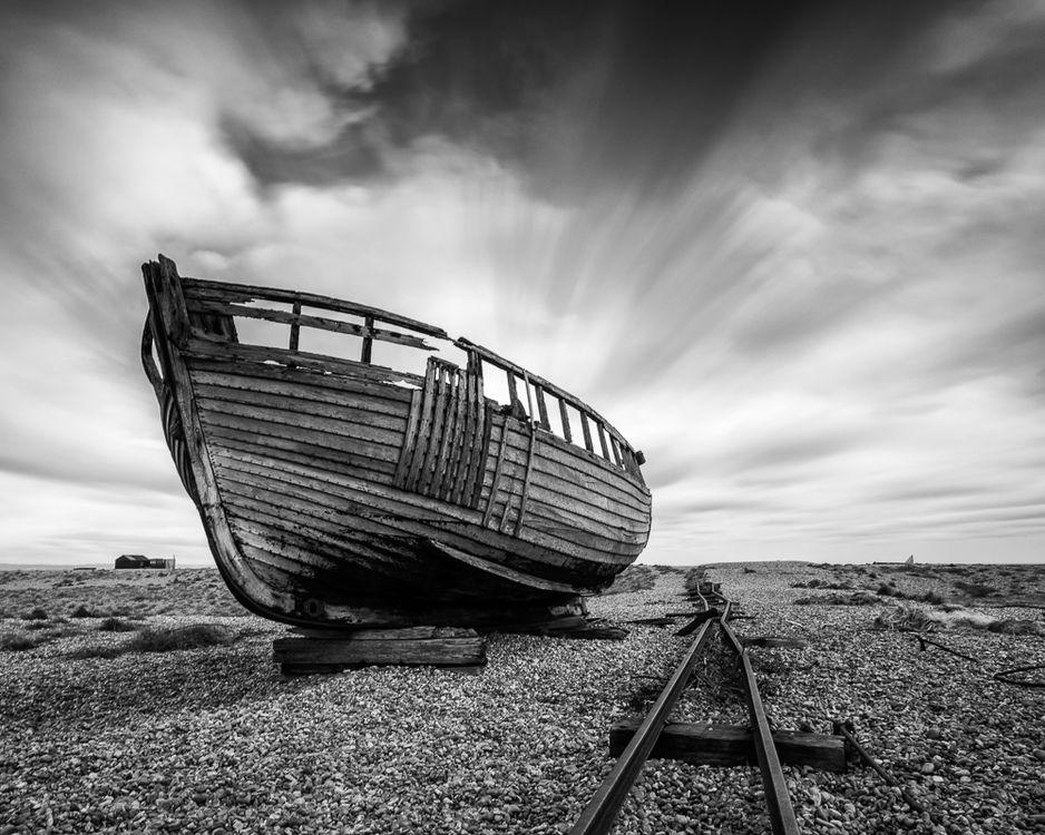boat on beach monochrome