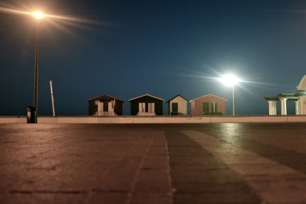 still night with beach huts