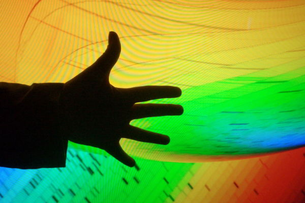 hand on psychedelic background