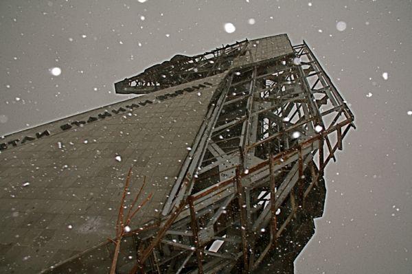 snowflakes against steel