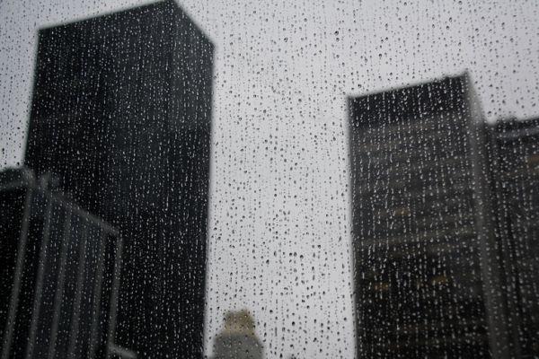 wet urban skyline