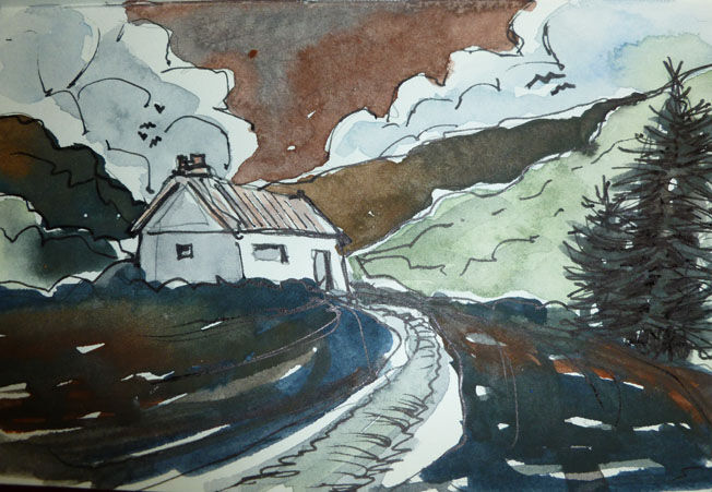 Bothy, watercolour