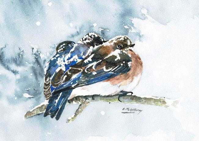 Snowbirds; Christmas card in watercolour S