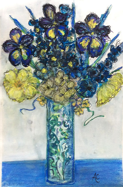 Flowers in a Tall Vase; mixed media  S