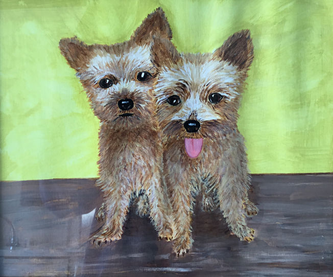 Yorkshire Terriers; acrylic