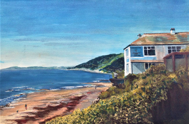 Inn on the Shore, Downderry; pastel on acrylic S