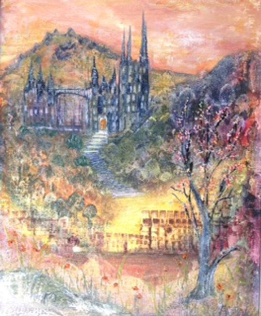 Mystery Castles; encaustic wax; 40 x 50   FS