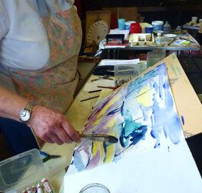 Robert Dutton Workshop, Elaine at workb