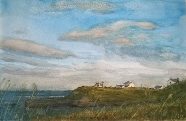 Seaton Sluice, evening; watercolour and pen on paper NFS