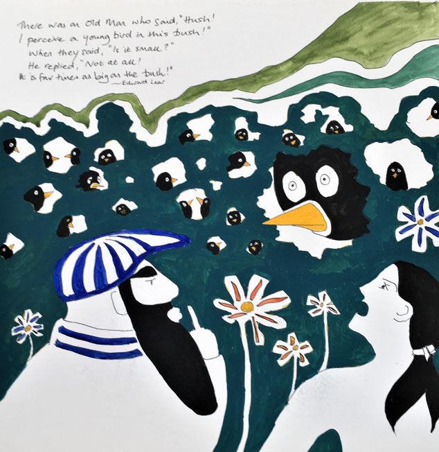 "The Old Man who said Hush; watercolour, 12""x12"" FS"