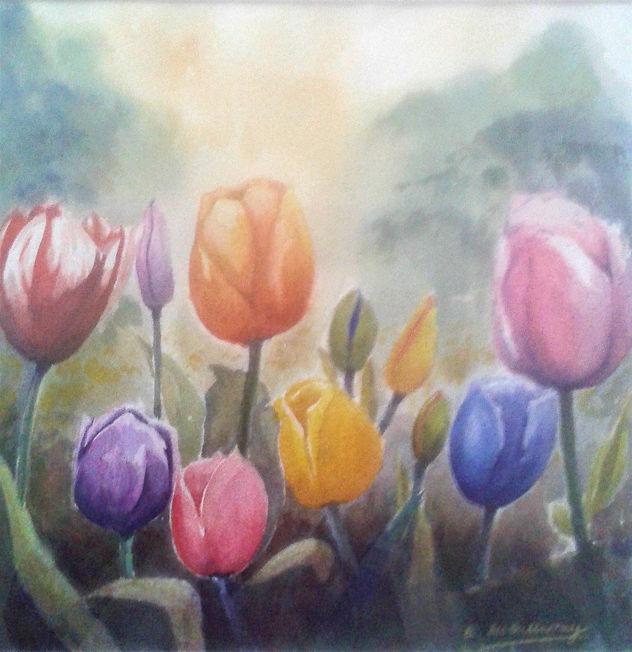 Tulips; watercolour S