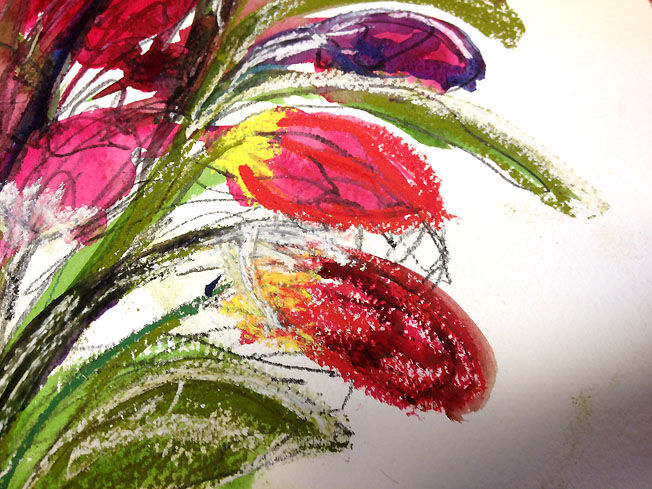 Tulips; mixed media; detail  S