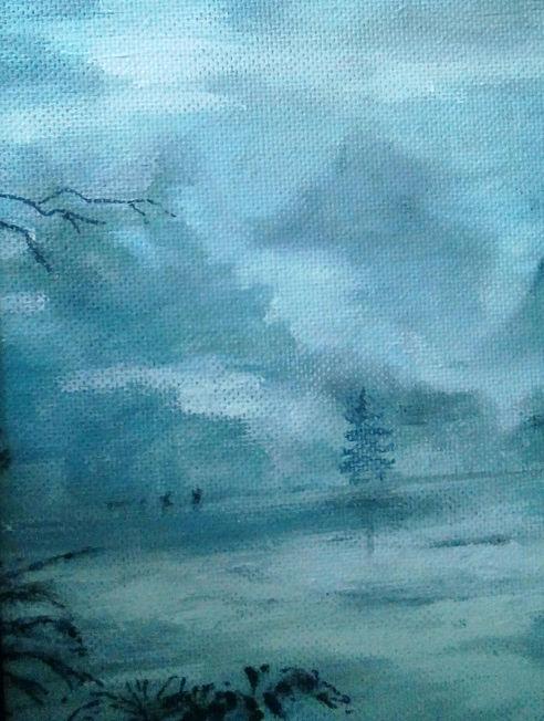 Walk in the Mist; acrylic