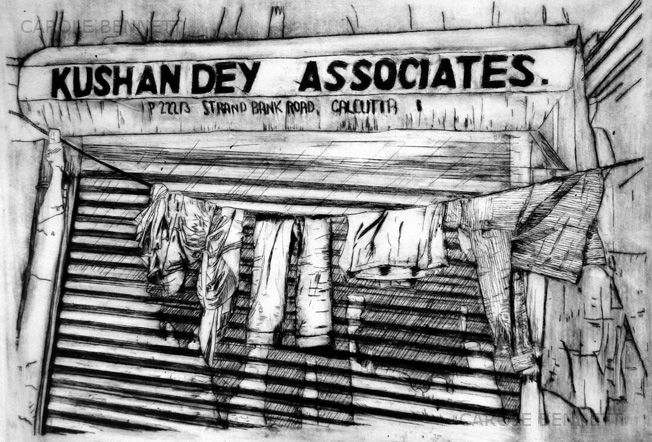 Kolkata Washing Line; etching; 46 x 36  FS