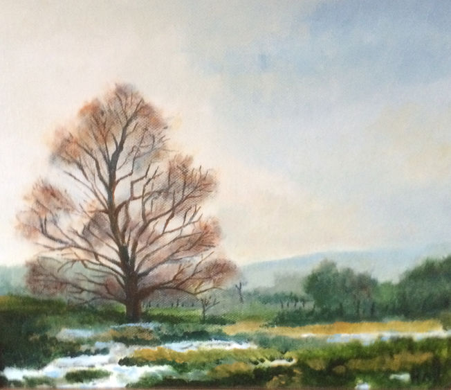 Winter in Yealand; acrylic