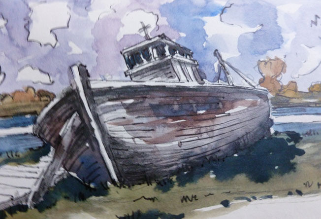 Old Trawler, watercolour