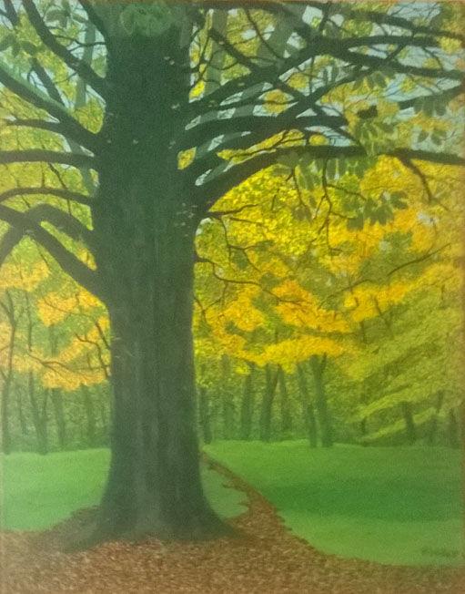 Autumn Woodland, acrylic