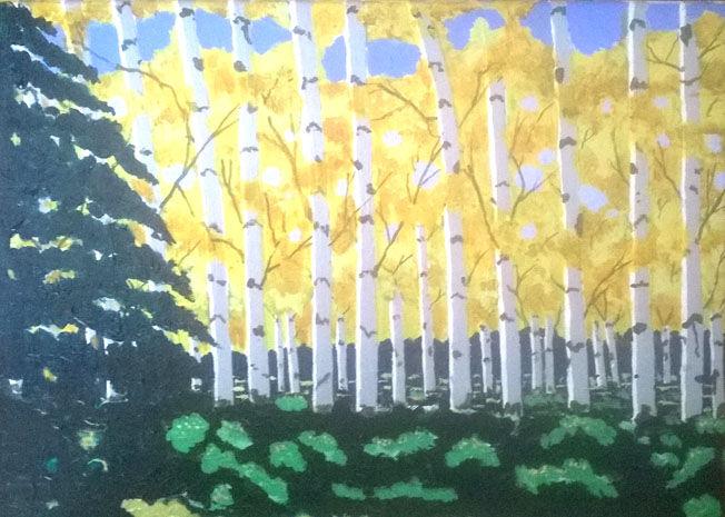 Yellow Trees, acrylic